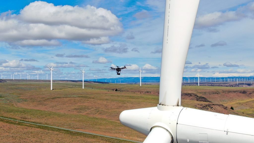 Automated drone inspecting wind turbine generator